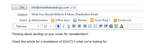 Music Distribution Email