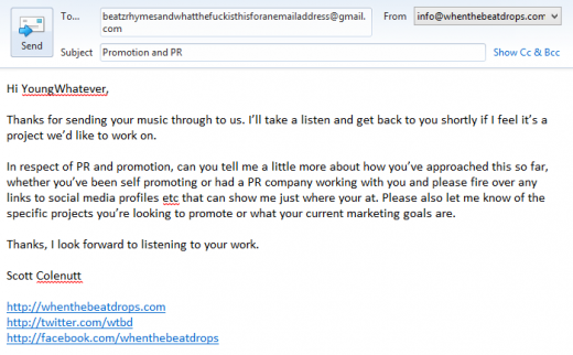 Example hip-hop promotion response email